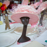 Mannequin in pink hat table decoration