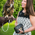 "Sharon Kerr and ""Kalala"" aka ""Meep"" the Great Horned Owl"