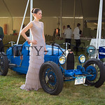 Sarah Parr Posing with a Vintage Bugatti