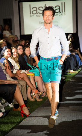 Runway Model in Button Down and Turquoise Shorts