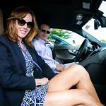 Sandra Asdourian and Keith  Asdourian Test driving Heritage Jaguar