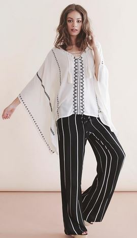 boho threadsence on balance striped lounge pants