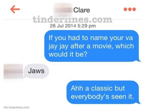 Funny Tinder Messages - Jaws