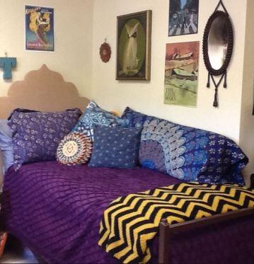 this boho chic dorm room is so cute - Dorm Decor Ideas