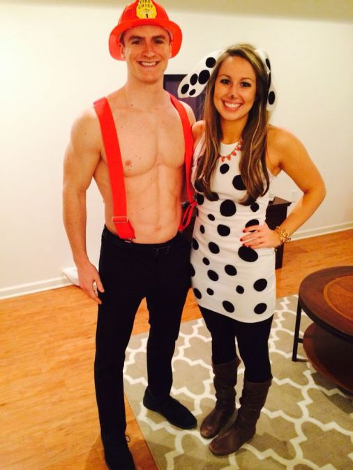 Firefighter and dalmatian is a cute couples Halloween costume idea!