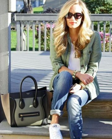 You can wear a military in different ways. It looks great with jeans and a basic white top.