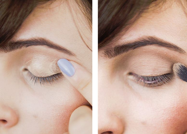First use some foundation or concealer on your whole eye lid.