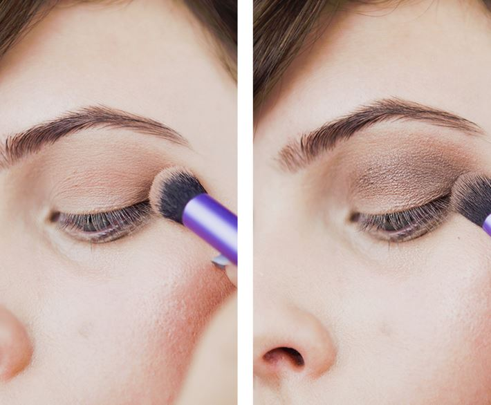 Pick a smokey brown color, apply it to your outer corner and sweep it across your crease.