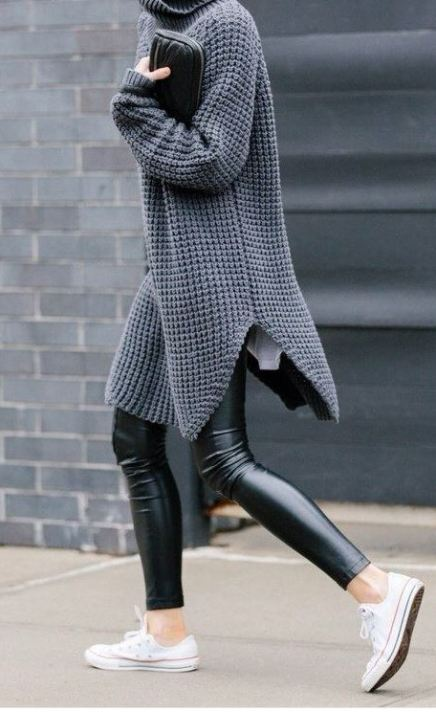 A pair of leggings and a cute oversize sweater for Thanksgiving.