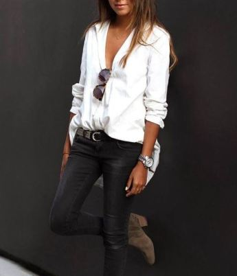 A button down shirt goes with almost everything and it can keep you comfortable.