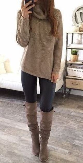I love this beige sweater matched with these knee high boots for Thanksgiving!