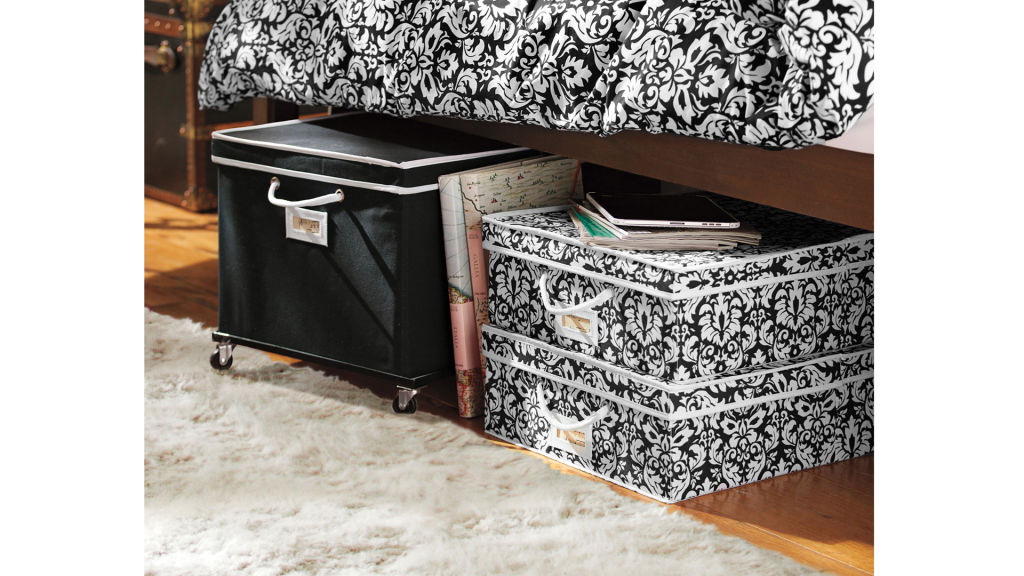 under bed storage saves lots of space!