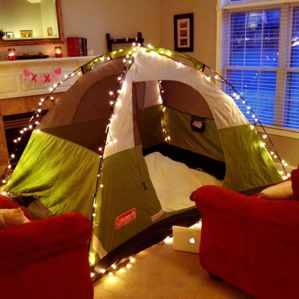 An indoor camping date is a creative Valentine's Day date idea!