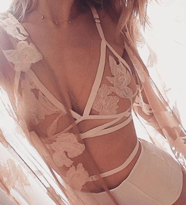 This beige lace lingerie set is perfect for a valentine's date!