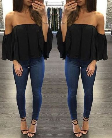 This cute black top is perfect for a valentine's date!