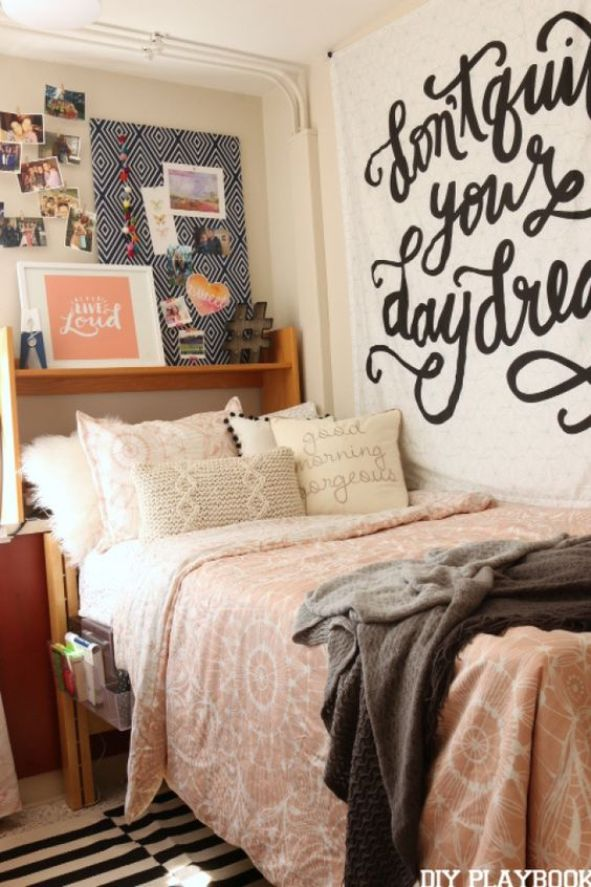 the ultimate freshman guide to dorm decor society19. Black Bedroom Furniture Sets. Home Design Ideas