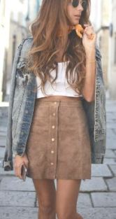 cute a-line suede skirt