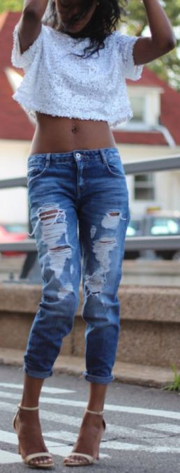cute destroyed skinny jean for spring