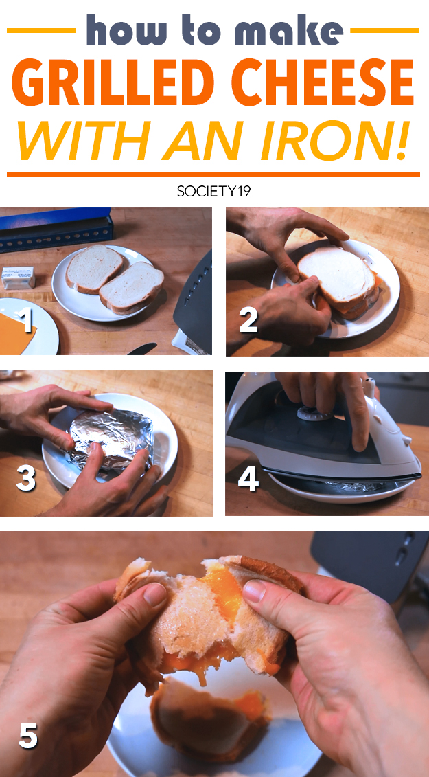 Yum! Grilled cheese sandwiches made with a clothing iron - how cool!