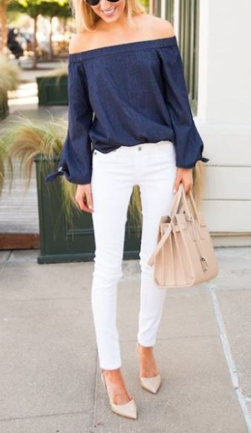 cute white skinny jean for spring