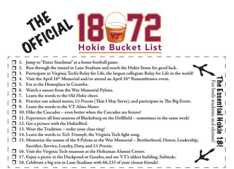 cool Hokie bucket list