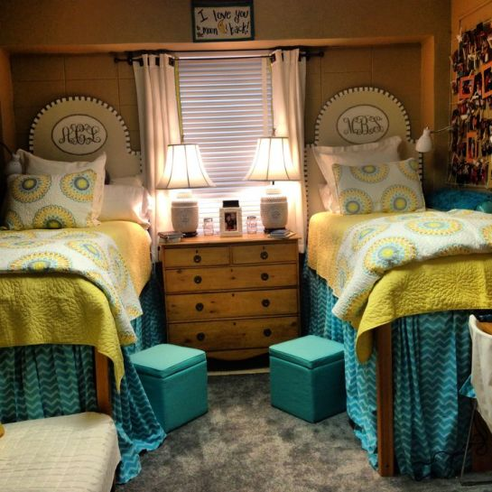 Cute yellow and teal ole miss dorm rooms!