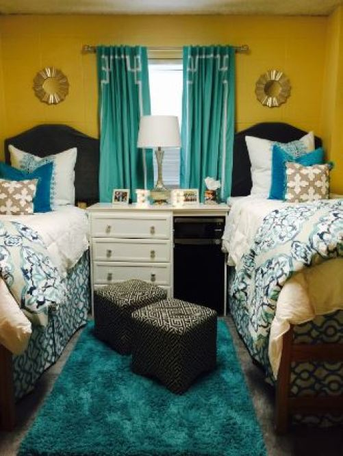 Teal and yellow ole miss dorm rooms!