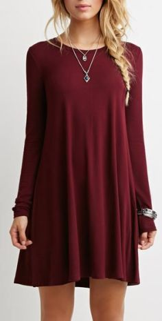 Love this burgundy fall dress!