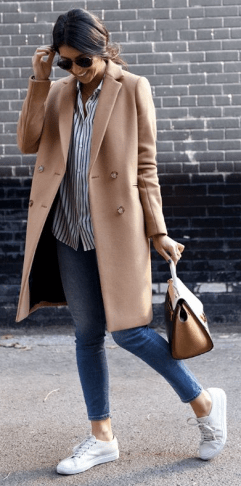 this beige camel coat paired with white sneakers is a great fall outfit!