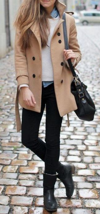 This outfit is perfect for work in the winter with the tan pea-coat and denim blouse underneath the white sweater