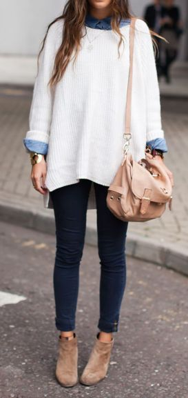 An over sized sweater, booties, and denim shirt make for a perfect fall outfit!