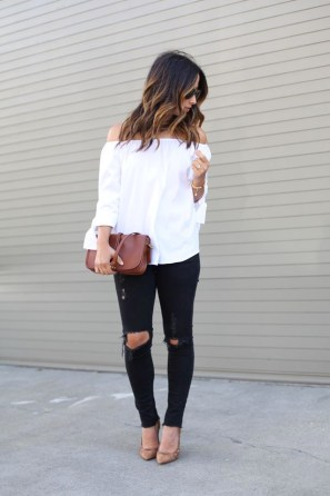 off the shoulder tops are the perfect fall fashion item!