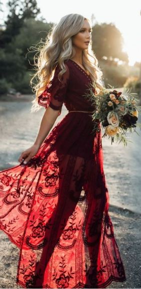 This red lace maxi dress is gorgeous for the holidays!