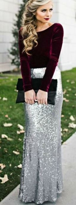 The sequin sparkly maxi skirt is gorgeous especially as a holiday party outfit!