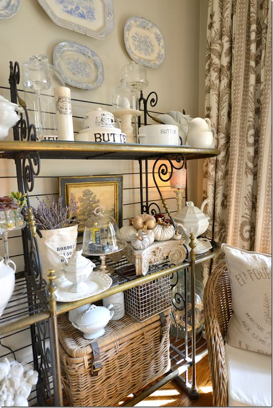 A bakers rack can free up some space in a decorative way.