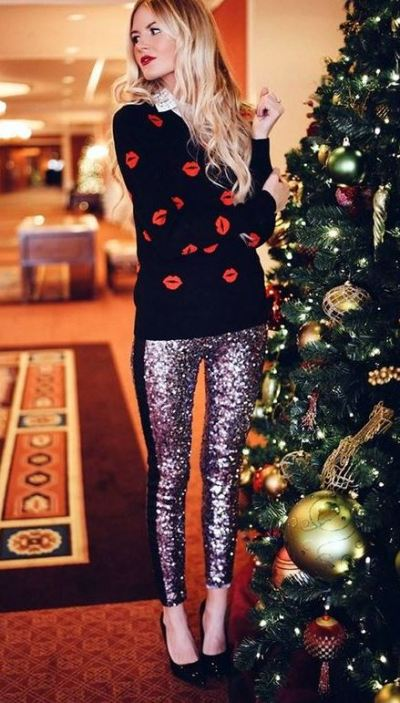 This sweater paired with these sequin leggings are perfect