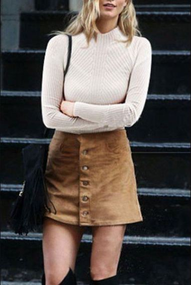 Button down skirts are definitely fall fashion must haves!