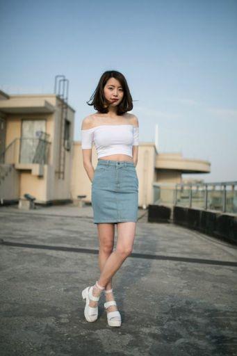 denim skirt and crop top