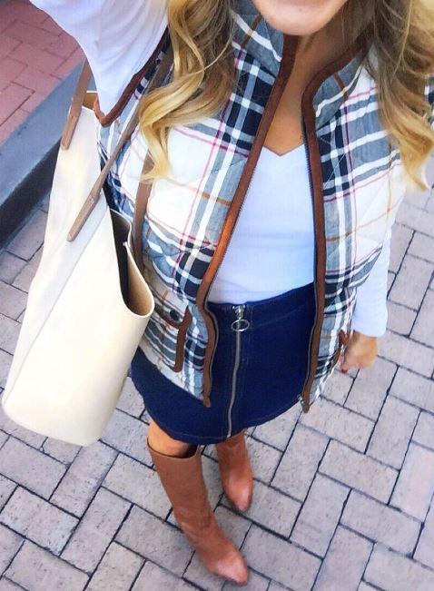 denim skirt with fall vest