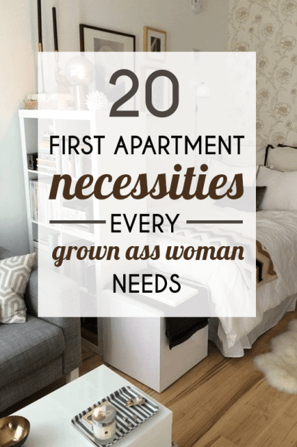 20 first apartment necessities every grown ass woman needs. Black Bedroom Furniture Sets. Home Design Ideas