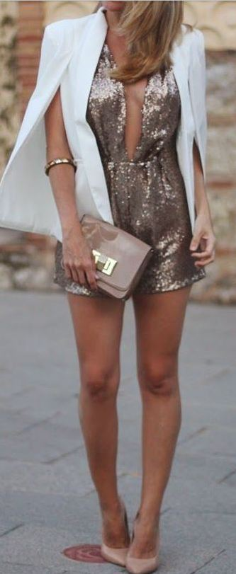 This gold romper is perfect for a holiday party!