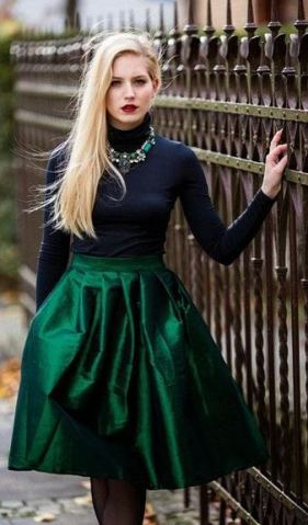 This emerald green pleated skirt is gorgeous.