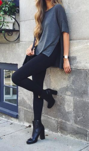 I love a pair of leggings with booties for a quick and easy outfit!