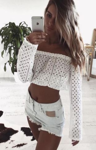 Shorts and White crop top