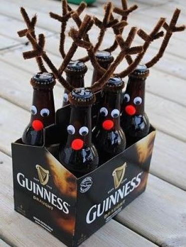 this reindeer decorated pack of beer is so cute! You can do it with other liquors as well!