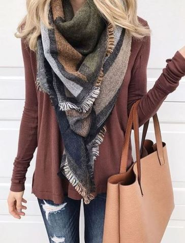 This blanket scarf is so cute for a winter outfit!