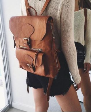 This leather rucksack backpack is so cute!