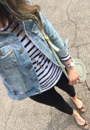 This striped shirt with the denim jacket makes such a cute spring outfit!