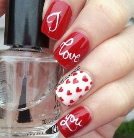 I love you nails