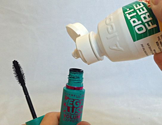 Contact solution in mascara is a great way to prolong the tube!